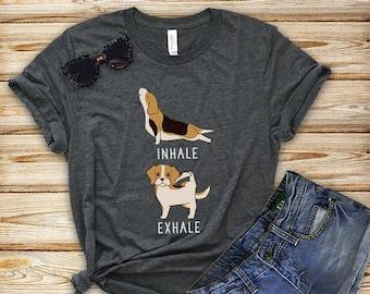 73241b5ca Inhale Exhale Beagle Yoga T-shirt, Heather Dog lovers Tshirt, Funny Dog Tee  Shirts, Yoga lover Gift, beagle Gift, Dog Mom Shirt