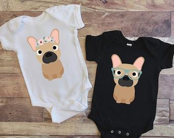c25144708 Floral Fawn French Bulldog Baby Bodysuit, Nerdy Frenchie Dog Baby Bodysuit, Baby  Boy Baby Girl Long Sleeve Baby Bodysuit, Baby Shower Gift