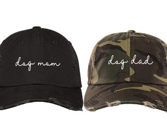 Dog Mom Distressed Hat, Dog Dad Embroidered Baseball Hats, Dog Lover Camo Dad Hat, Fur Mom Women Cap, Rescue Dog Mom Gift, Dog Dad Gift