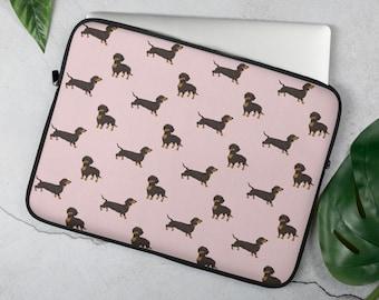 Art Dachshund 13inch Portable Laptop Sleeve Bag Dual Zipper Pocket Tablet Bag