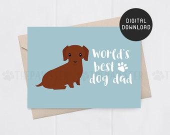 ae02b12fa PRINTABLE Father's Day Card, World's Best Dog Dad Fathers Day Card, Red Dachshund  Dad Card For Dog Dad, Doxie Dad Card