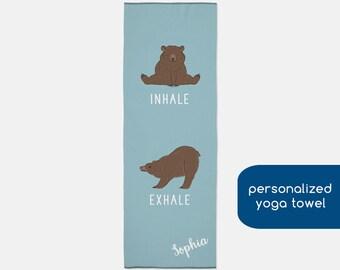 0a69b10ceb Inhale Exhale Grizzly Bear Yoga Mat Towel, Personalized Grizzly Yoga Towel,  Hot Yoga Towel, Pilates Towel, Yoga Gifts for Teacher, Bear Gift