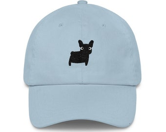 89189869a05fa Black French Bulldog Frenchie Embroidered Baseball Hat