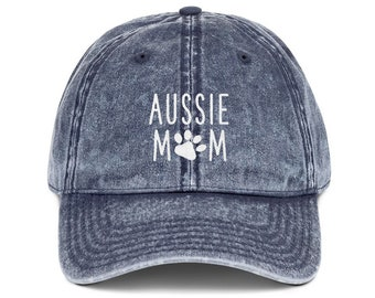 bdd978d4 Aussie Mom Distressed Hat, Australian Shepherd Dog Mom Embroidered Baseball  Hats, Dog Lover Camo Dad Hat, Gift for her, gift for mom