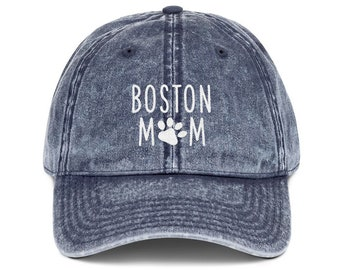 46493b78967 Boston Terrier Mom Distressed Hat