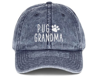 0bbf87872 Embroidered pug hat | Etsy