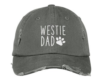 9c090f6c9a9 Westie Dad Distressed Hat