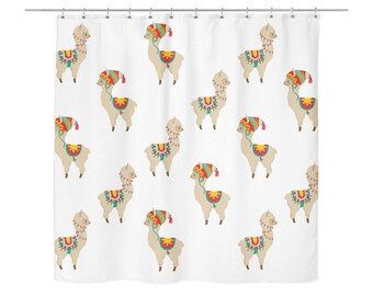 Llama White Shower Curtain Animal Striped Bath Curtains Bathroom Decor Housewarming Gift