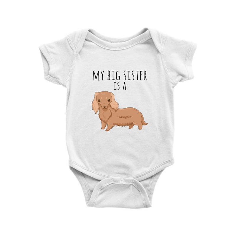 f73bab71e My Big Sister is a Longhaired Red Dachshund Baby Bodysuit Dog | Etsy