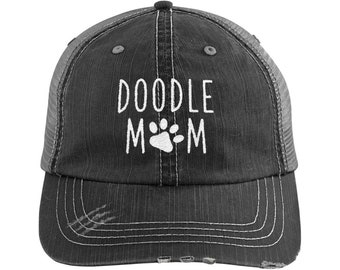 Doodle Mom Distressed Hat, Dog Mom Embroidered Baseball Hats, Dog Lover Camo Dad Hat, Fur Mama Women Cap, Rescue Dog Mom Gift