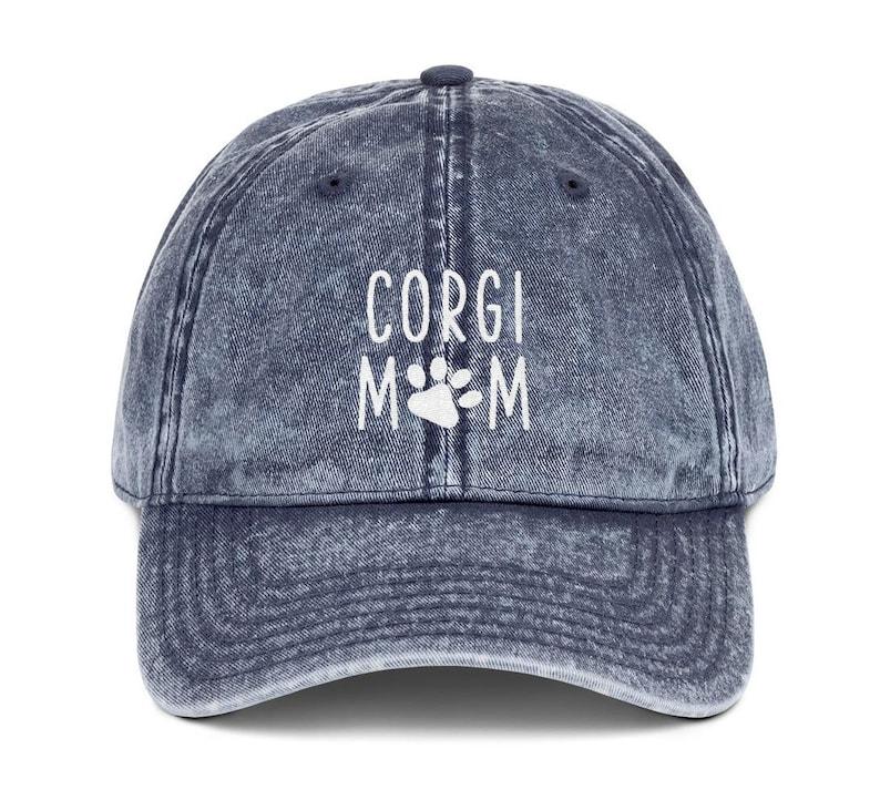 eb6189550 Corgi Mom Distressed Hat Dog Mom Embroidered Baseball Hats | Etsy