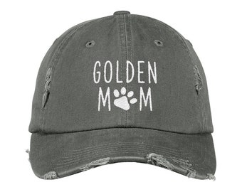 Golden Retriever Mom Distressed Hat, Dog Mom Embroidered Baseball Hats, Dog Lover Camo Dad Hat, Fur Mama Women Cap, Rescue Dog Mom Gift