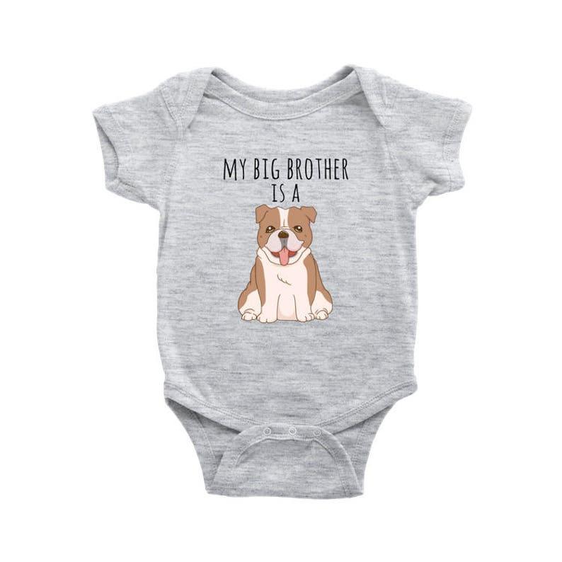 Infant Baby Boy Dog Lover Baby Clothes Baby Girl Bodysuit Newborn Baby Shower Gift My Big Brother is a Bulldog Dog Baby Bodysuit