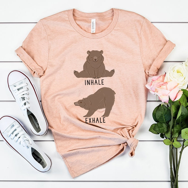 1ac571dd1b Inhale Exhale Grizzly bear Yoga T-shirt Heather Brown Bear   Etsy