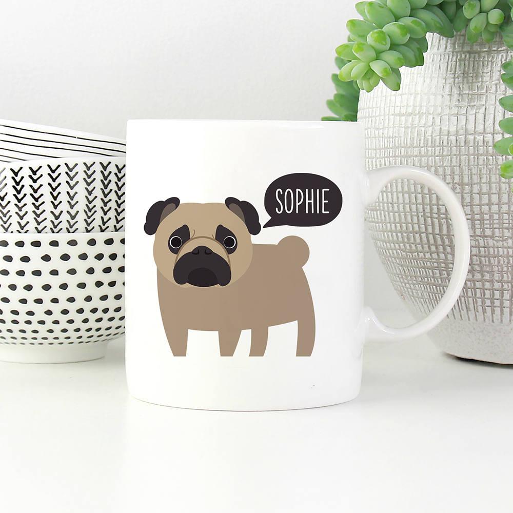 Pug Mug Personalized Name Coffee Mug Custom Dog Mug Pet | Etsy