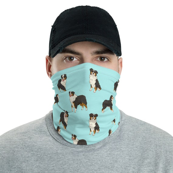 Hiking Adjustable Masks Australian Shepherd Blue Merle Dog Simple Grey Unisex Mens Ladies Super Soft Facial Decorations HAT for SKI