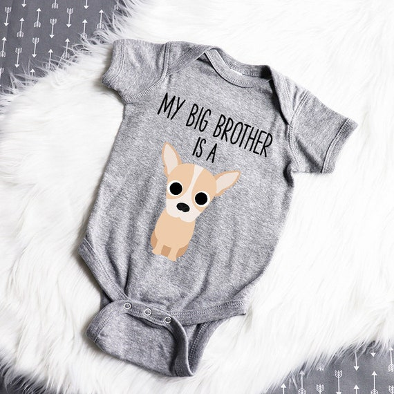Chihuahua Big Brother and Sister White Onesie Newborn Baby Boy Girl Shower Gift,Chihuahua Dog Lover Gift,Coming Home Outfit,Dog and Baby
