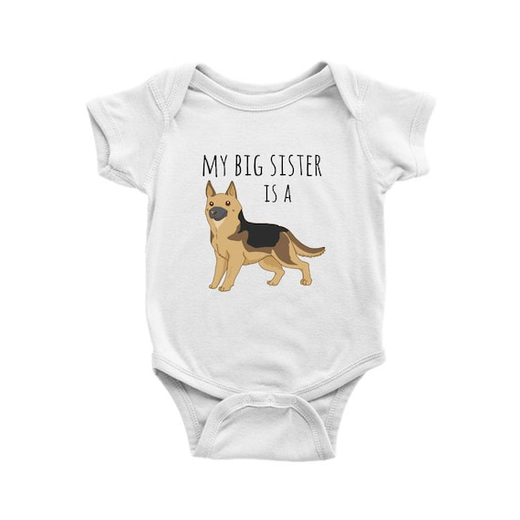 My Big Brother Is A German Shepherd Blue Pink Cotton Baby Bodysuit or Sister