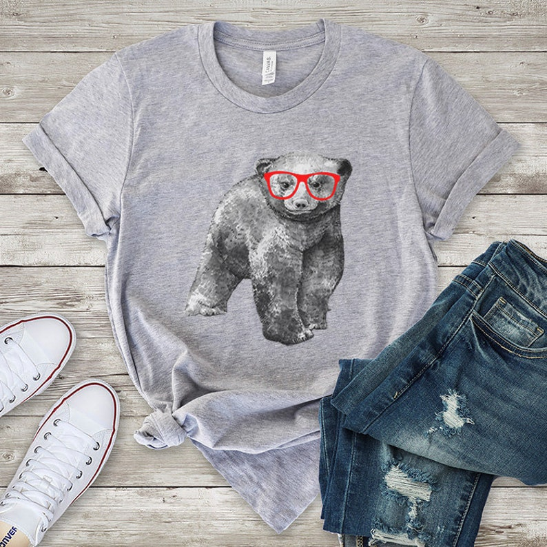 d3462b7d00 Hipster Grizzly Bear T-shirt Funny Nerdy Glasses Bear Tee   Etsy