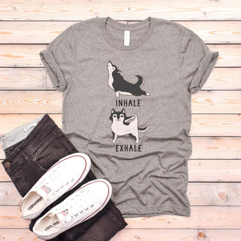55afcce3 Inhale Exhale Siberian Husky Yoga T-shirt Heather Dog lovers | Etsy