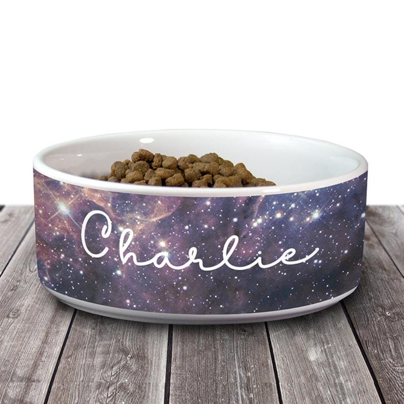 Astronomy Ceramic Dog Food Bowls Dog Water Bowl Cat Bowl Custom Name Rustic Pet Bowl Galaxy Space Dog Bowl Personalized Dog Bowl