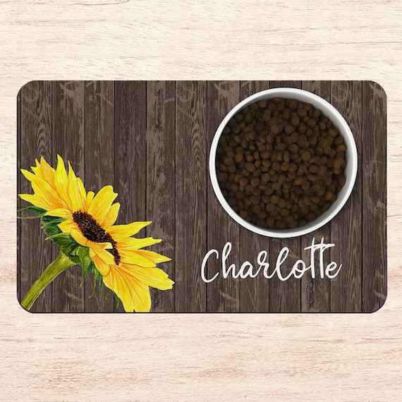 Cat Food Placemat Country Sunflowers Pet Food Placemat Dog Feeding Mat Dog Placemat Personalized Dog Food Mat Cat Feeding Mat