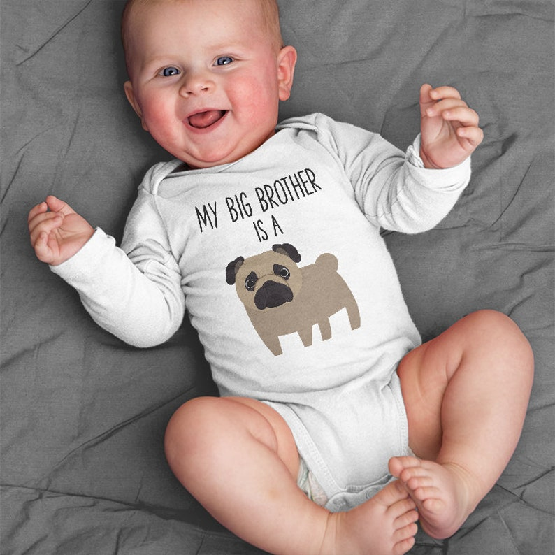 0ef62ac51 My Big Brother / Sister is a Pug Long Sleeve Baby Bodysuit | Etsy