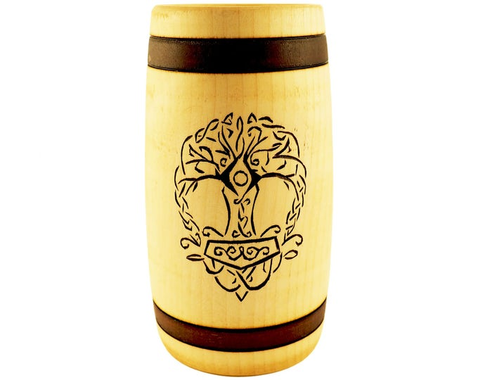 Hand Carved Wooden Beer Mug 0.5 litre ( 17 oz ) with Yggdrasil and Thor hammer