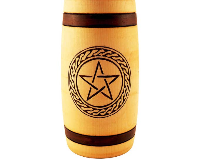 Hand Carved Wooden Beer Mug 0.5 litre ( 17 oz ) with Pentagram and Plait Man Gift Ideas, Nordic Ornaments, Vikings Beer Tankard,