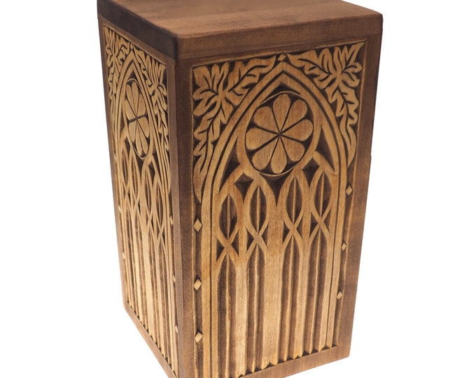 Personalized Wood Urn For Human Ashes, Wooden Memorial Box, Carved Keepsake Cremation Urns, Cremation Boxes For Burial Medieval Gothic style