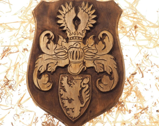 Personalized Family Crest, Hand Carved, Coat of Arms, Custom, Family Shield, Wooden Emblem, Wedding Wood Art, Heraldic, Woodcraft