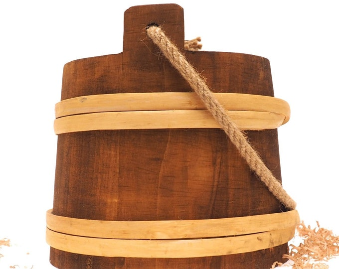 5 Litre Bucket With Rope Handle wider narrow at the top, wide at the bottom, viking, medieval, country,  handmade, witcher, game of thrones