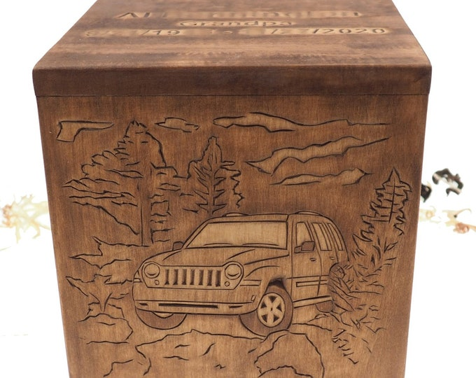 Square Personalized Wood Urn For Human Ashes, Wooden Memorial Box, Carved Keepsake Cremation Urns, Cremation Boxes For Burial