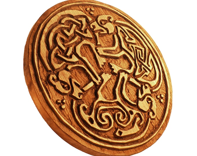 Wooden Hand Carved 3 Dogs Book of Kells Wall Hanging, Three wolves wall carving, celtic art, celtic room decoration, medieval art, norse