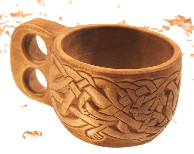 Intricately carved wooden cup viking style kuksa Lisbjerg (Denmark) groomsman gift