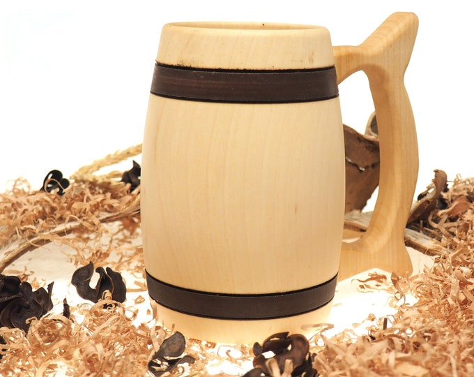 Wooden Beer Mug 1/2 litre (17 oz) |beer mug|wooden cup|wooden drinking mug|historical mug||rustic mug|medieval replica|Game of Thrones