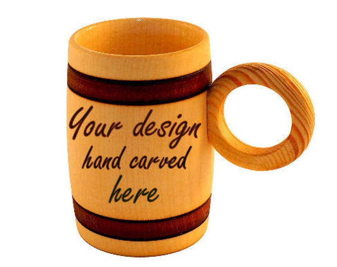 Personalized Hand Carved Wooden Beer Mug 0.3 litre (10 oz) Glazed