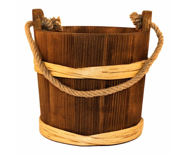 3 Litre Wooden Bucket With Rope Handle