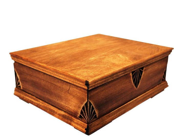 Hand carved wooden jewelry box with a gothic pattern