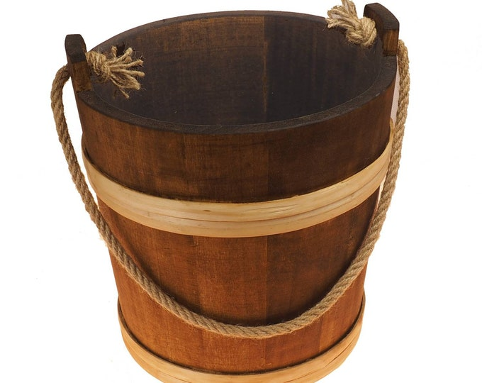 10 Litre Bucket With Rope, 2,6 gal, country , viking, medieval, handmade, witcher, game of thrones, larp and SCA, reenactment