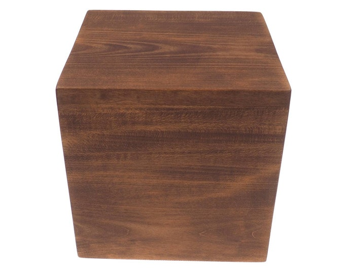 Simple Square Personalized Wood Urn For Human Ashes, hand carved text   Memorial Box, Carved Keepsake Cremation Urns, Boxes For Burial