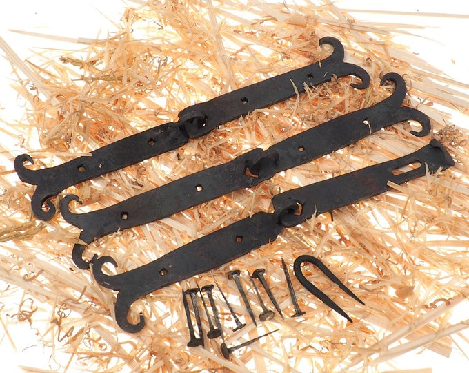 Hand forged hinges for the chest,viking chest, reenactment chest, sca and larp, steel fittings in early medieval style.