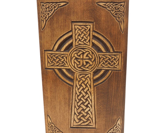 Personalized Wood Urn with Celtic Cross, For Human Ashes, Wooden Memorial Box, Carved Keepsake Cremation Urns, Medieval Viking style