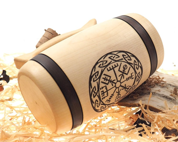 Hand Carved Wooden Beer Mug 0,7l (24 oz)  with Vegvísir runic compass , Man Gift Ideas, Nordic Ornaments, Vikings Beer Tankard,