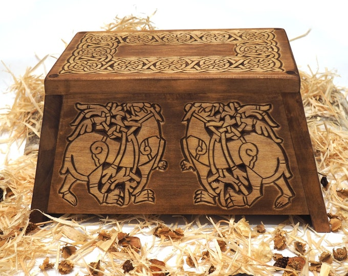Personalized Wood Urn For Human Ashes, Wooden Memorial Box Carved , Keepsake Cremation Urns, Cremation Boxes For Burial, Viking pagan