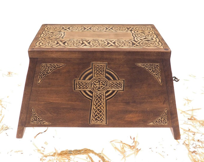 Celtic Cross Wooden Urn For Human Ashes, Wooden Memorial Box, Hand Carved, Keepsake Cremation Urns, Cremation Boxes For Burial, Celtic pagan
