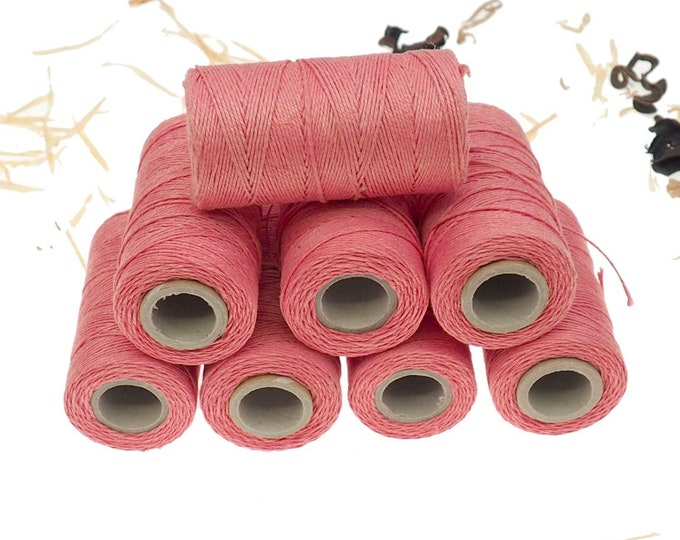 Pink linen thread, unwaxed Linen String ,natural Warp Thread thickness of 1mm/ 3ply 100grams (210 yards ~ 190 metres), linen sewing thread
