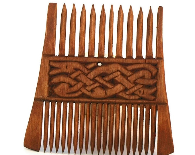 Viking Wooden Double Comb with pattern form Runestone Norway
