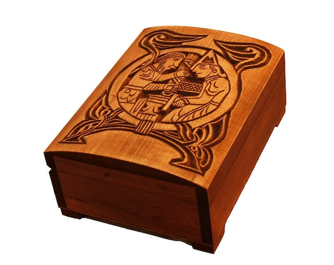 Wooden historical jewelry box with first scene from Völsunga saga