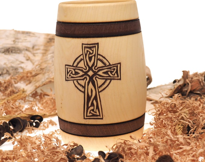 Hand Carved Wooden Beer Mug 0.5 litre ( 17 oz ) Celtic cross  Man Gift Ideas Nordic Ornaments, Vikings Beer Tankard, Engraved Wooden Stein